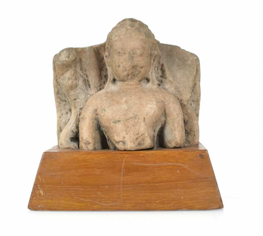 Stone sculpture of Buddha on a wooden base - photo 1