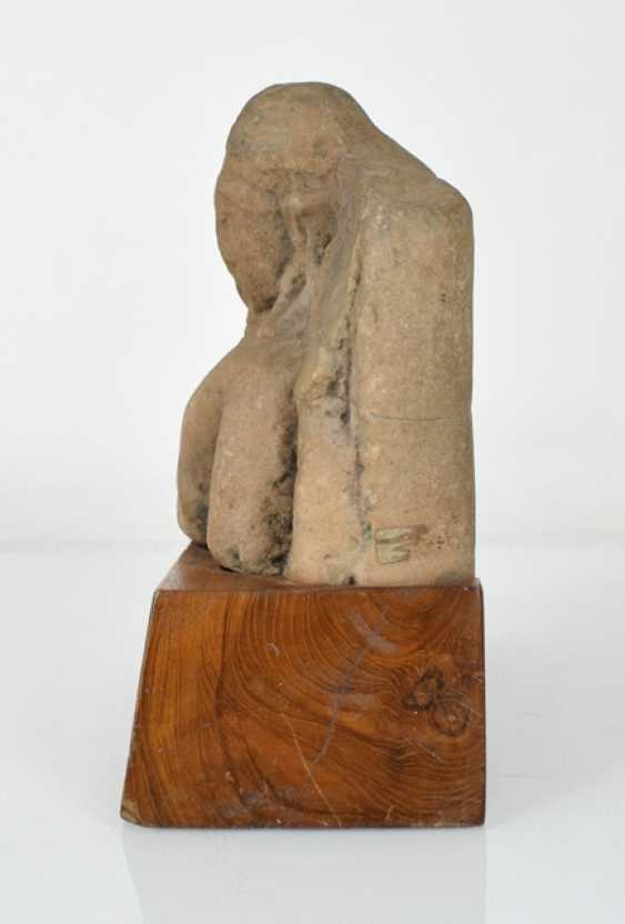 Stone sculpture of Buddha on a wooden base - photo 2