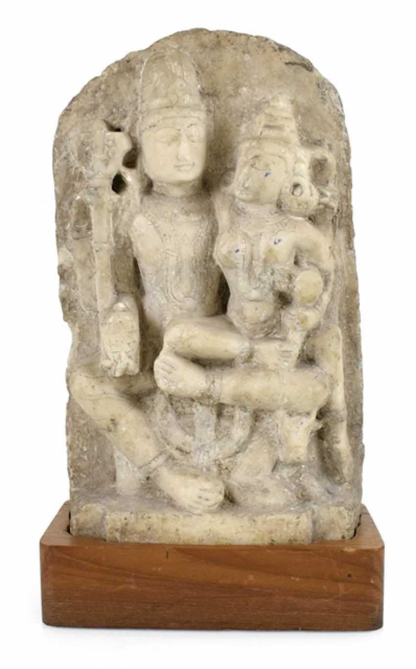 Stele made of Alabaster with a representation of the Umamaheshvara - photo 1