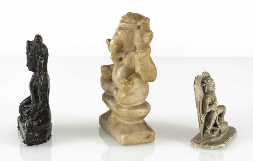 Three stone figures of Hindu and Buddhist deities, including Ganesha - photo 2