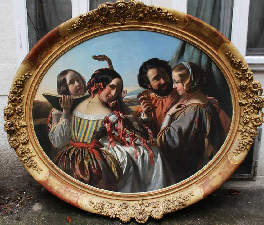 Eugene Francois Marie Joseph Deveria (1808-1865)-circle, Music and feasting company with three elegant ladies and a gentleman in landscape - photo 1
