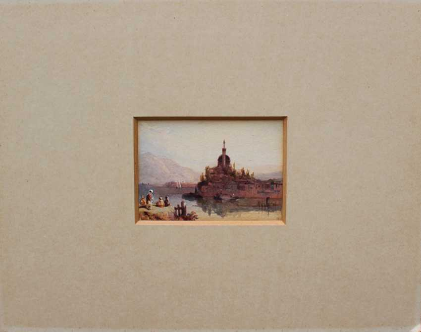 Orientalist 19th Century, View of Jánnina with boats and peasants by a river, in the background the Aslan Pascha Mosque - photo 1