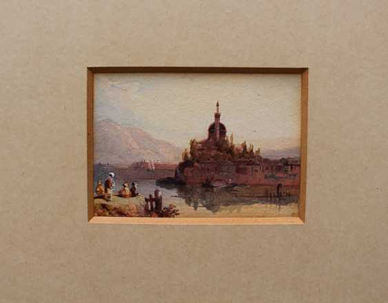 Orientalist 19th Century, View of Jánnina with boats and peasants by a river, in the background the Aslan Pascha Mosque - photo 2