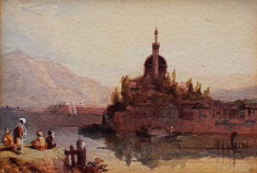 Orientaliste du 19e Siècle, Vue de Jánnina avec des bateaux et des paysans par une rivière, dans le fond du Aslan Pacha Mosquée - photo 3