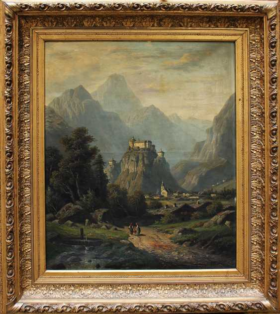 Artist 19th Century, View the Fortress Kufstein, with the town and view to the Alps - photo 1
