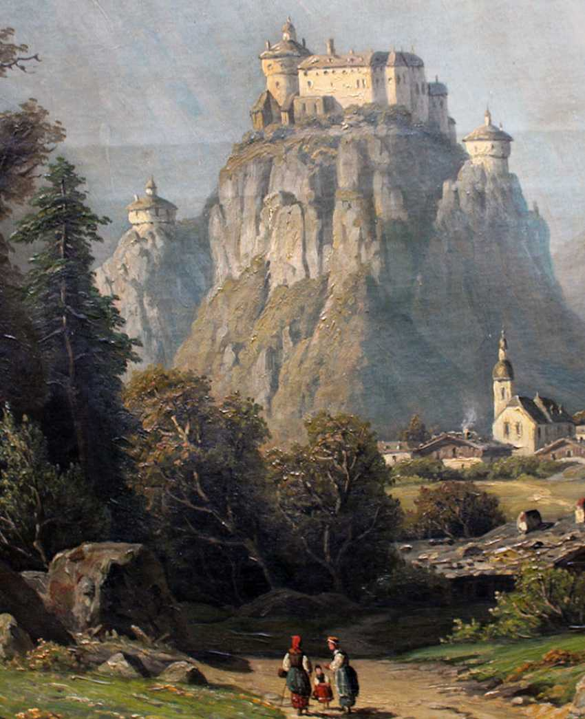 Artist 19th Century, View the Fortress Kufstein, with the town and view to the Alps - photo 3