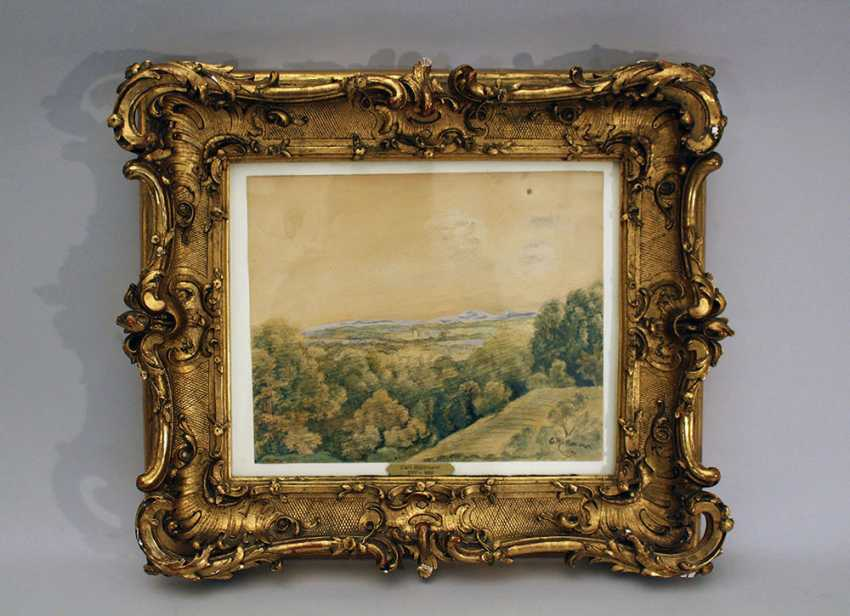 Carl Rottmann (1797-1850)-attributed, Landscape view with house and mountains in the distance - photo 1