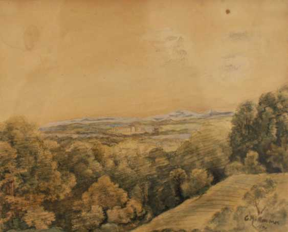 Carl Rottmann (1797-1850)-attributed, Landscape view with house and mountains in the distance - photo 2