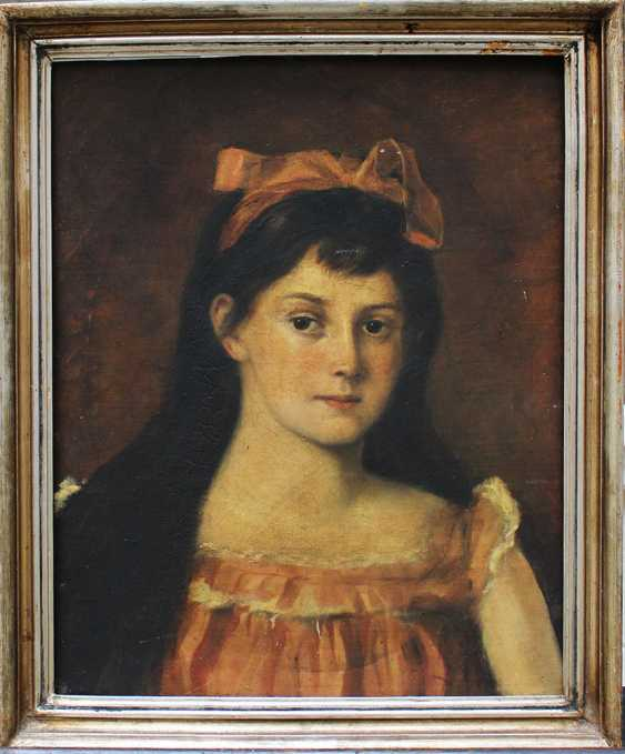 Artist 19th Century, Portrait of a girl in front of brown background - photo 1