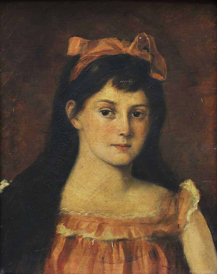 Artist 19th Century, Portrait of a girl in front of brown background - photo 2
