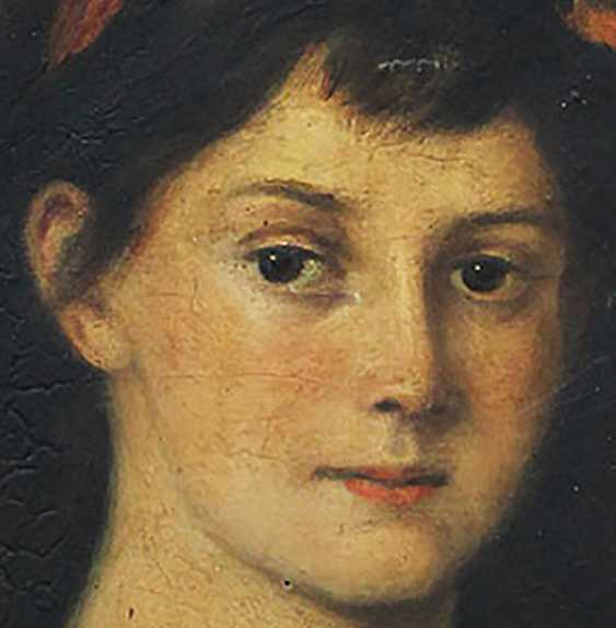 Artist 19th Century, Portrait of a girl in front of brown background - photo 3