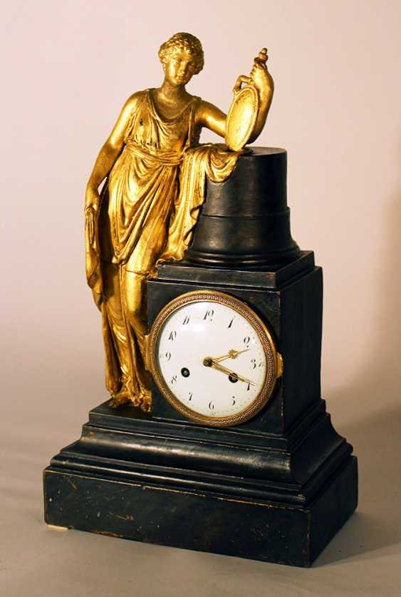Austrian or Italian apothecary clock with the goddess of Hygieia in classical dress lining on a shield with a snake on a column - photo 2