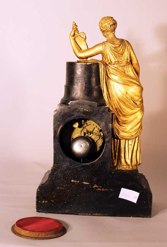 Austrian or Italian apothecary clock with the goddess of Hygieia in classical dress lining on a shield with a snake on a column - photo 3