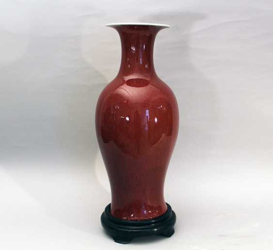 Chinese oxblood vase in elegan baluster shape with long thin neck and wide upper border - photo 1