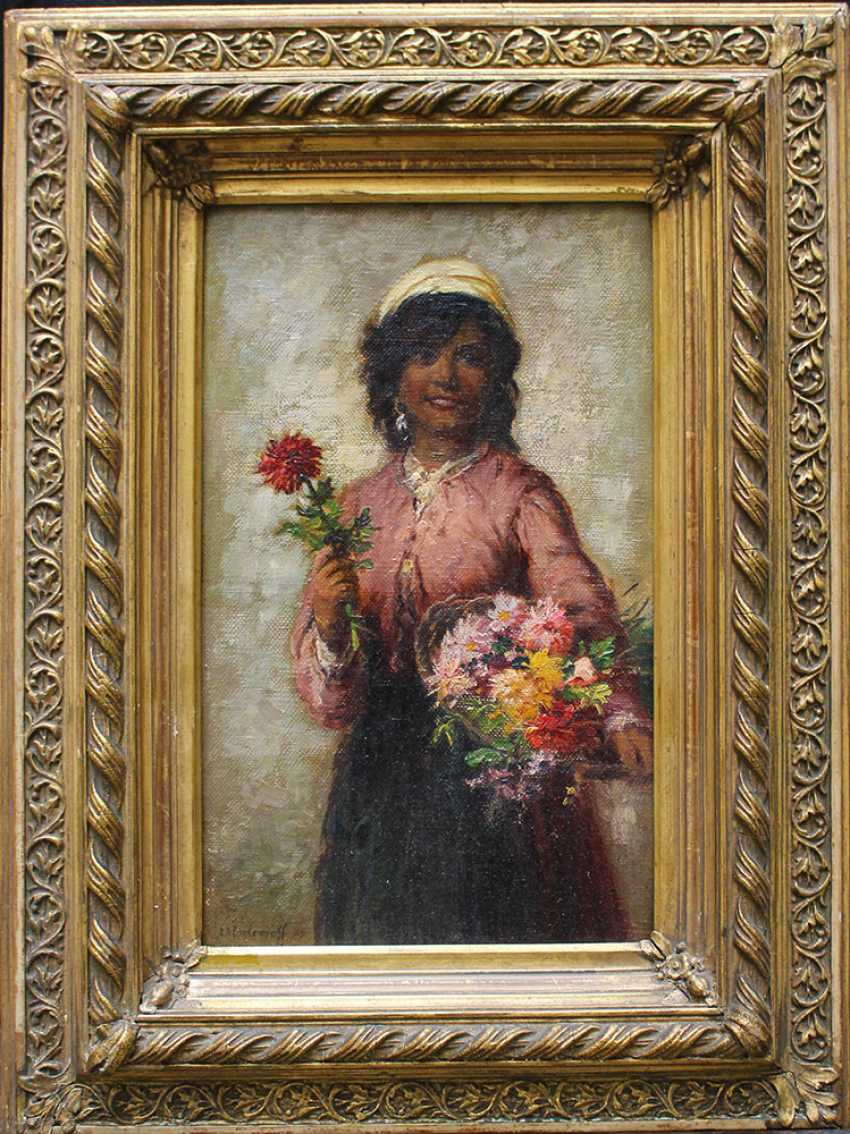 Alexei Harlamov (1840–1925)-attributed, Young flower seller - photo 1