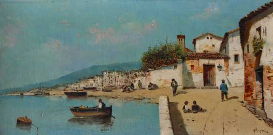Italian School late 19th Century, Pair of paintings showing fishers in front of an Italian town - photo 2
