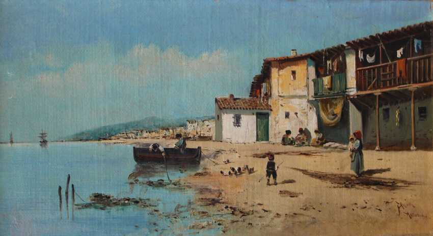 Italian School late 19th Century, Pair of paintings showing fishers in front of an Italian town - photo 3
