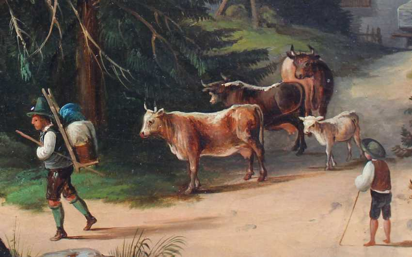 Franz Barbarini (1804-1873)-circle, Shepperd with cows in idyllic landscape - photo 3