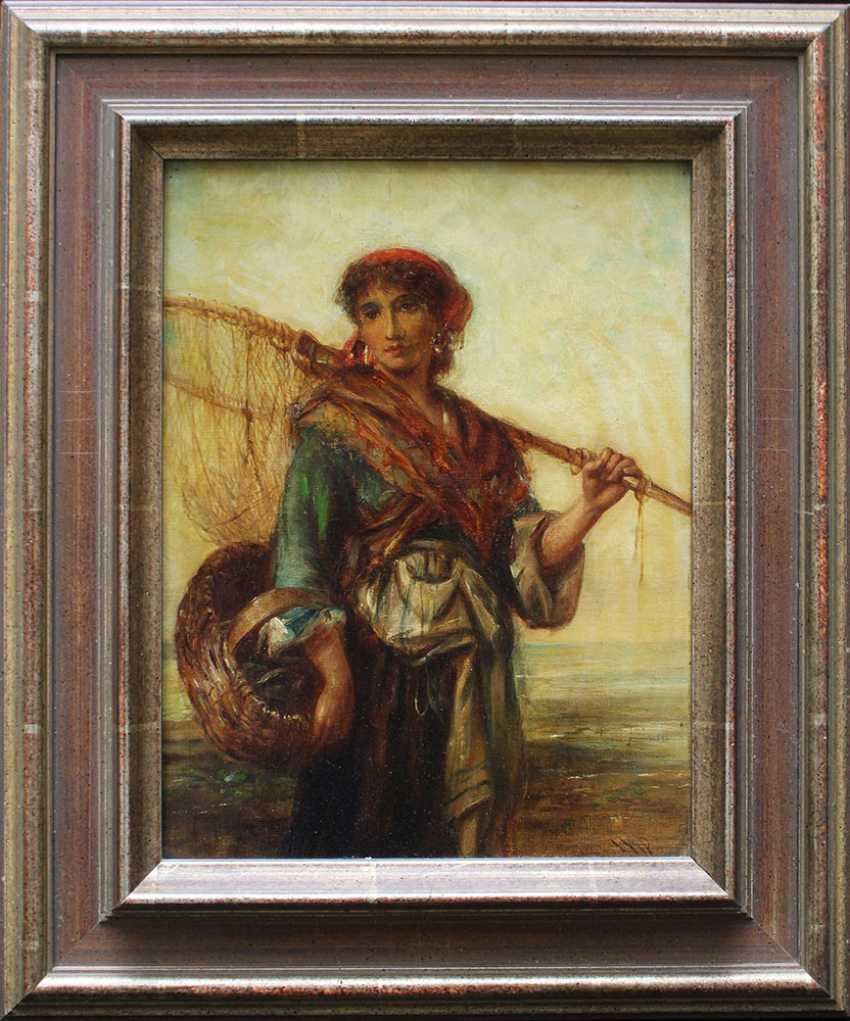 Carl Theodor von Piloty (1826-1886)-attributed, Fisher woman with basket and web in front of the sea - photo 1