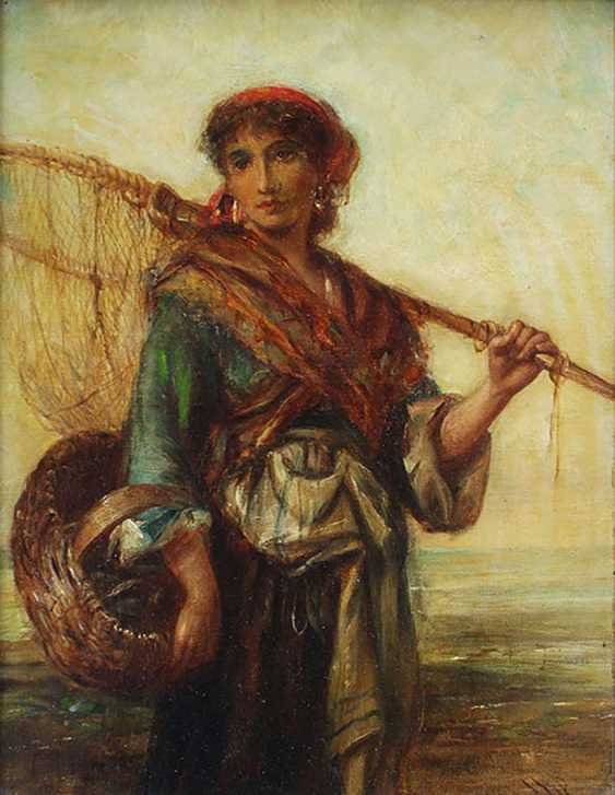 Carl Theodor von Piloty (1826-1886)-attributed, Fisher woman with basket and web in front of the sea - photo 2