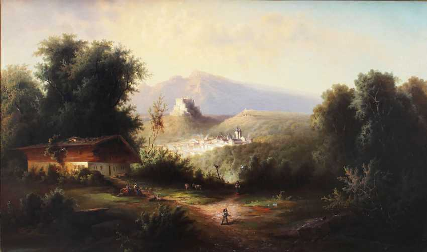 Franz Barbarini (1804-1873), Romantic view of Salzburg with the fortress and the town - photo 2