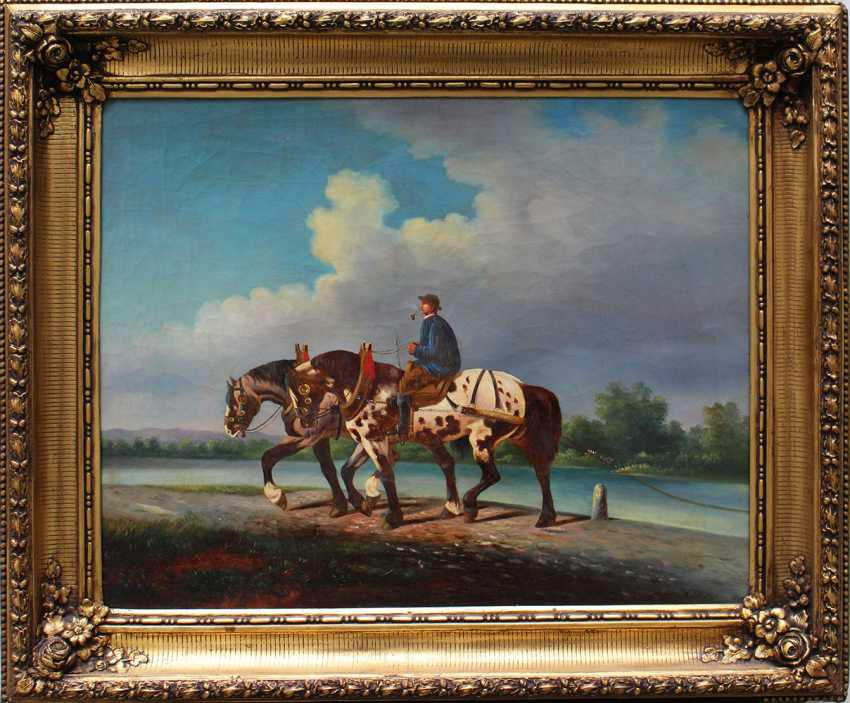 A. Klein, artist 19th Century, Horse rider with two horses by a river - photo 1