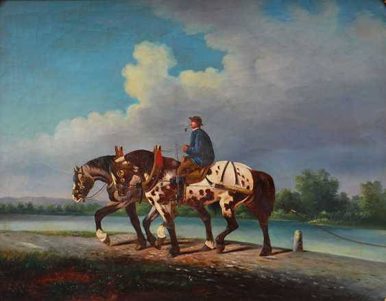A. Klein, artist 19th Century, Horse rider with two horses by a river - photo 2