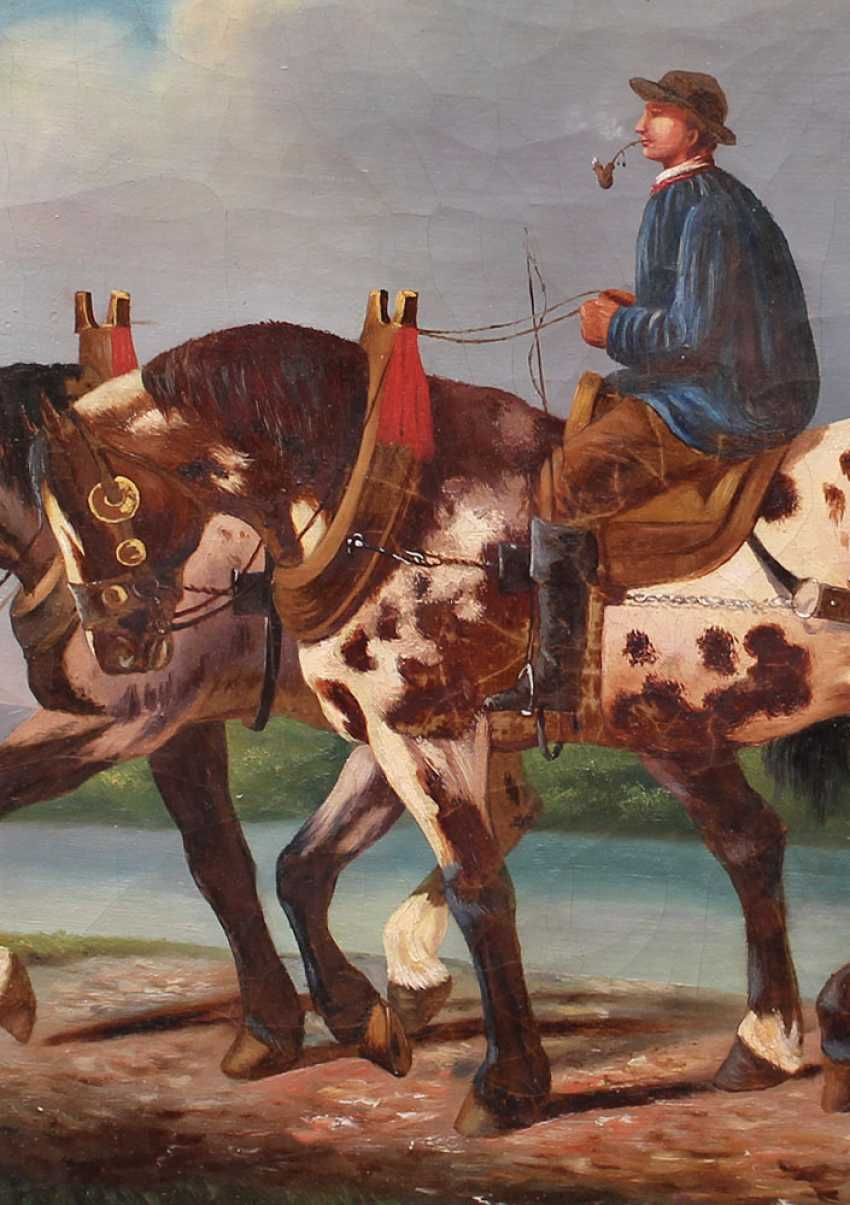 A. Klein, artist 19th Century, Horse rider with two horses by a river - photo 3