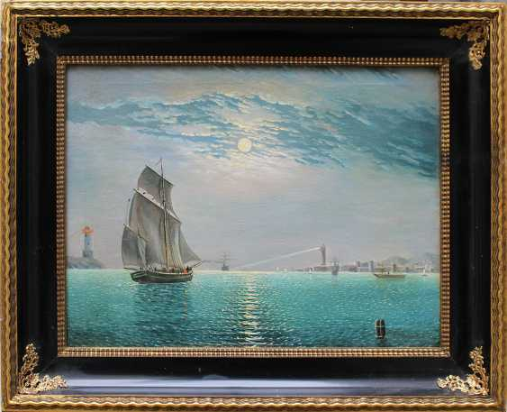 Russian School 19th Century, Night harbour with ships at moonlight - photo 1