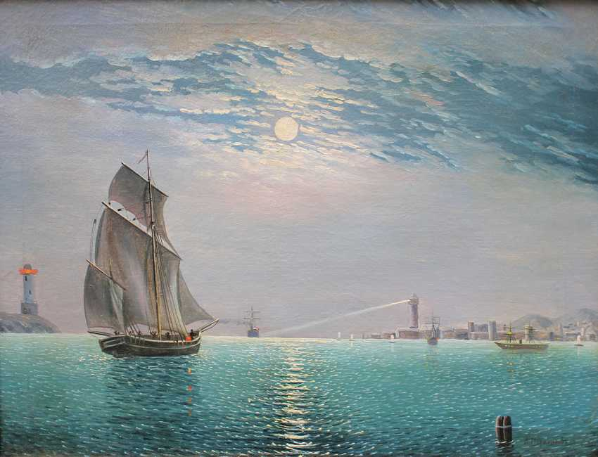 Russian School 19th Century, Night harbour with ships at moonlight - photo 2