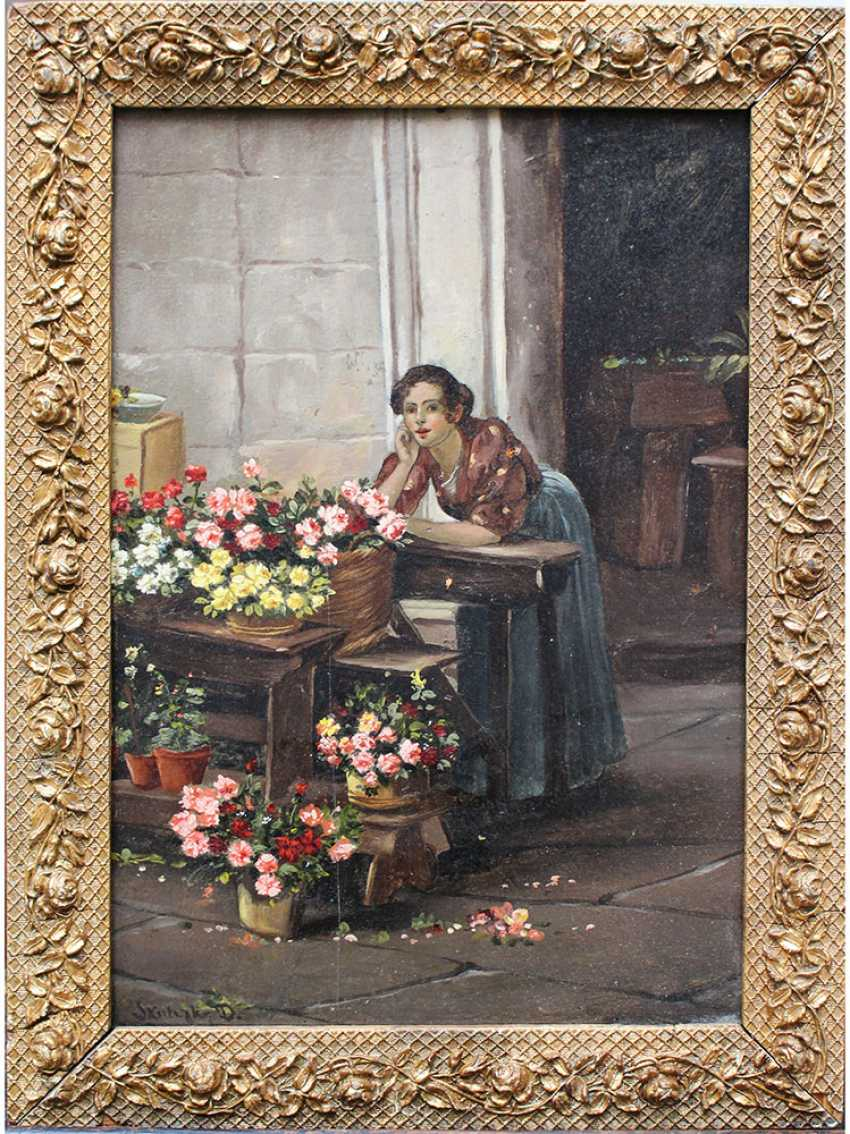Dominik Skutetzky (1850–1921)-attributed , Flower seller, oil on cardboard - photo 1