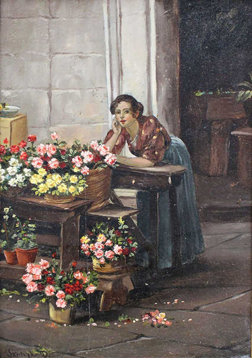 Dominik Skutetzky (1850–1921)-attributed , Flower seller, oil on cardboard - photo 2