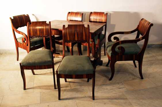 Russian or Baltic salon suit comprising one table, two armchairs and four chairs - photo 1