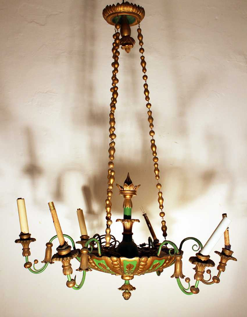 A Biedermeier style wooden chandelier with round central bowl and six S-shaped branches with wooden spouts - photo 1
