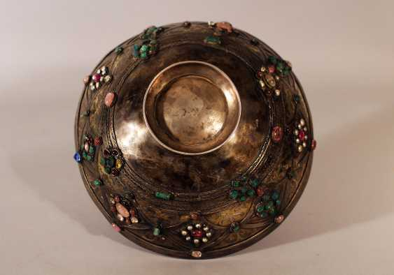 A Transylvanian baptism silver set comprising cylindrical baker in round shape with four fields, decorated with multicoloured stones and glasses, in shape of blossoms - photo 2