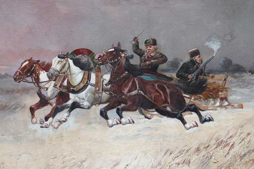 Pjotr C. Stojanow (1857-1957)-attributed, Troika with two hunters on a slight in winter - photo 2