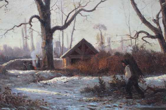 Adolphe Appian (1818-1898), Romantic winter landscape with farmers collecting wood and warming by the fire - photo 1