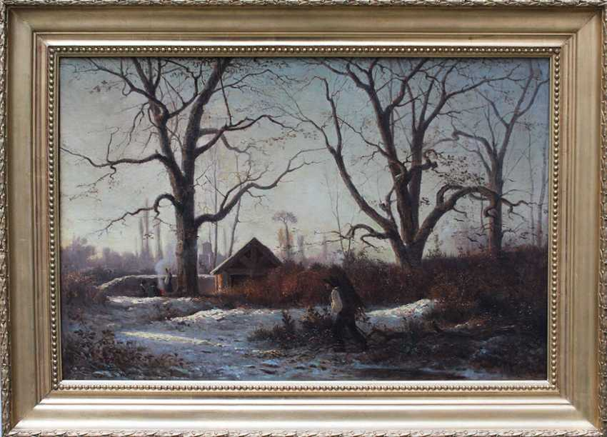 Adolphe Appian (1818-1898), Romantic winter landscape with farmers collecting wood and warming by the fire - photo 2