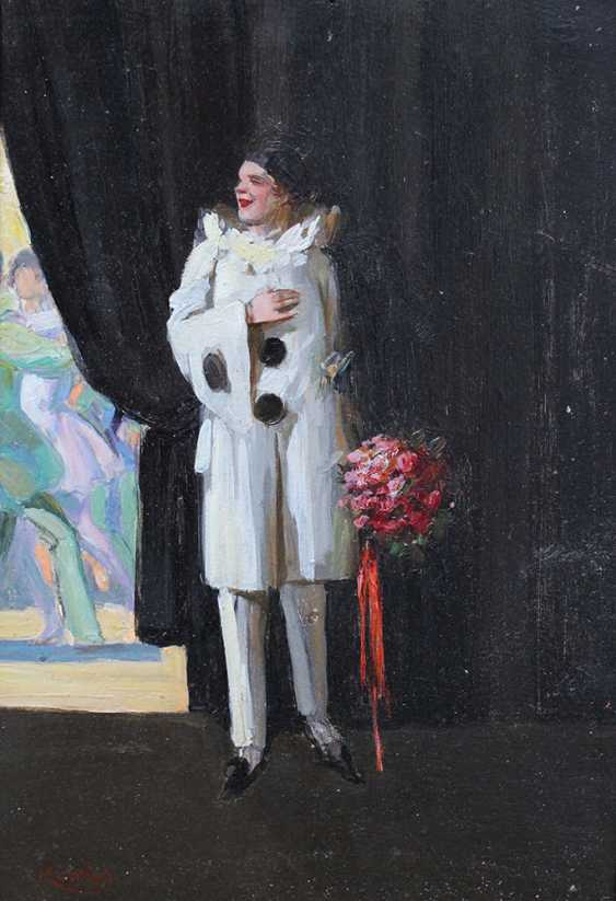 Unknown artist early 20th Century, A harlequin dressed guest viewing the dancers - photo 2