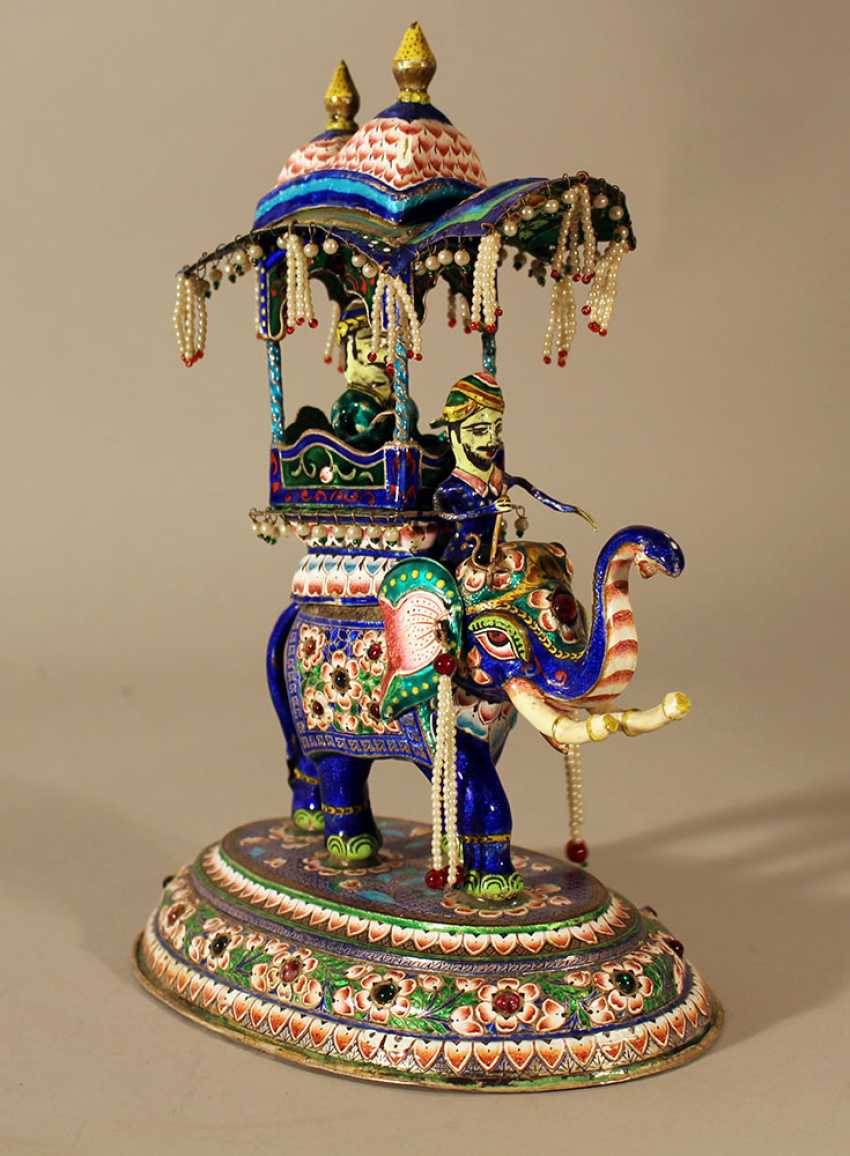 An Indian silver enamel elephant with a cabbin with a Maharaja an his elephant rider on top - photo 2