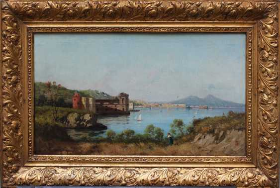 Italian artist late 19th Century, The bay of Naples with the Vesuvius in the background - photo 1