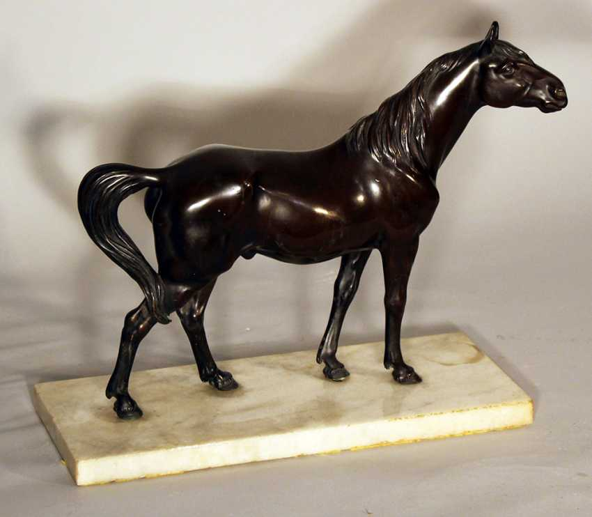 Bronze sculpture of a standing horse looking to the side, on white marble base - photo 3