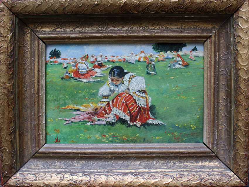Unknown artist, Czech or Slovakian girl sitting on a meadow - photo 1