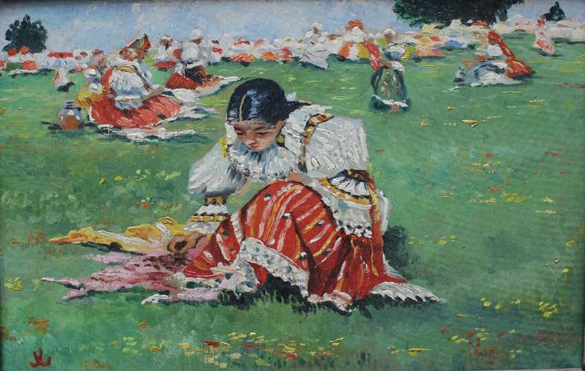 Unknown artist, Czech or Slovakian girl sitting on a meadow - photo 2