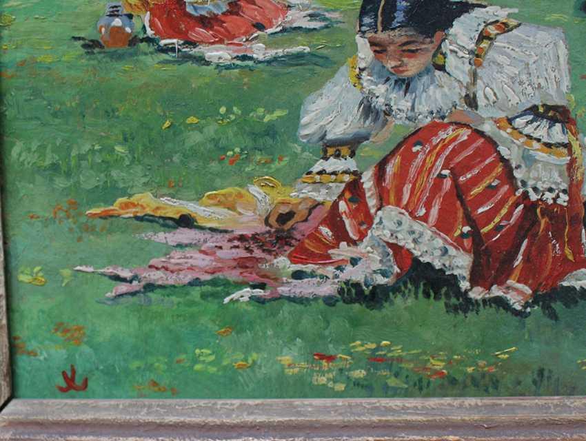 Unknown artist, Czech or Slovakian girl sitting on a meadow - photo 3