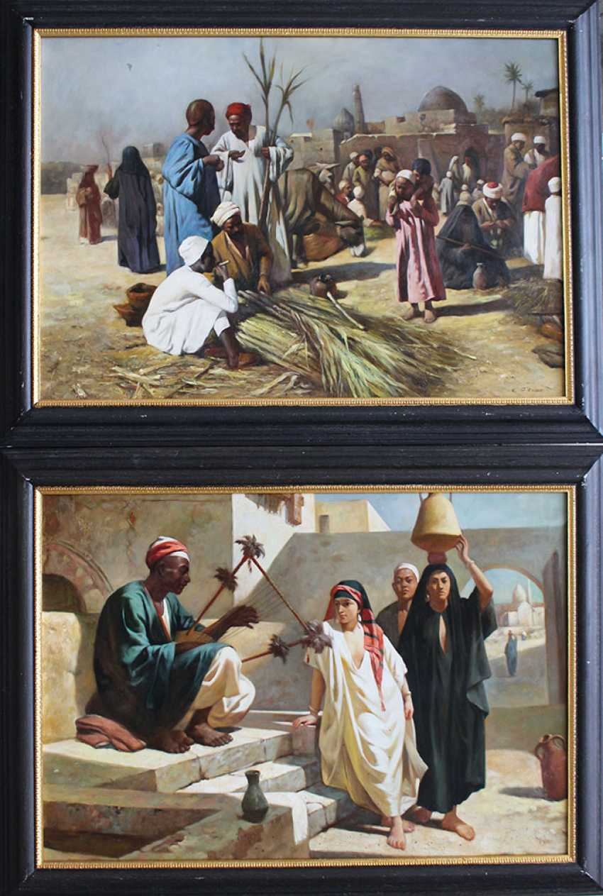 J. G. Vicent, orientalist 20th Century, Pair of paintings with oriental music in a street and market sellers - photo 1