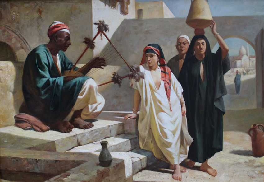 J. G. Vicent, orientalist 20th Century, Pair of paintings with oriental music in a street and market sellers - photo 2