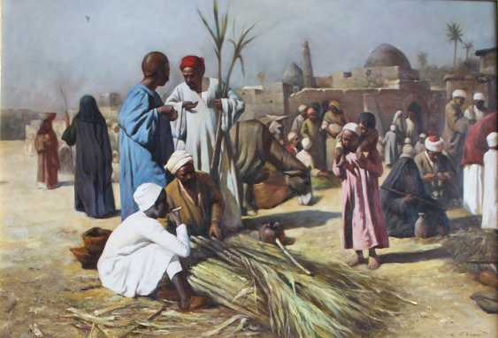 J. G. Vicent, orientalist 20th Century, Pair of paintings with oriental music in a street and market sellers - photo 3