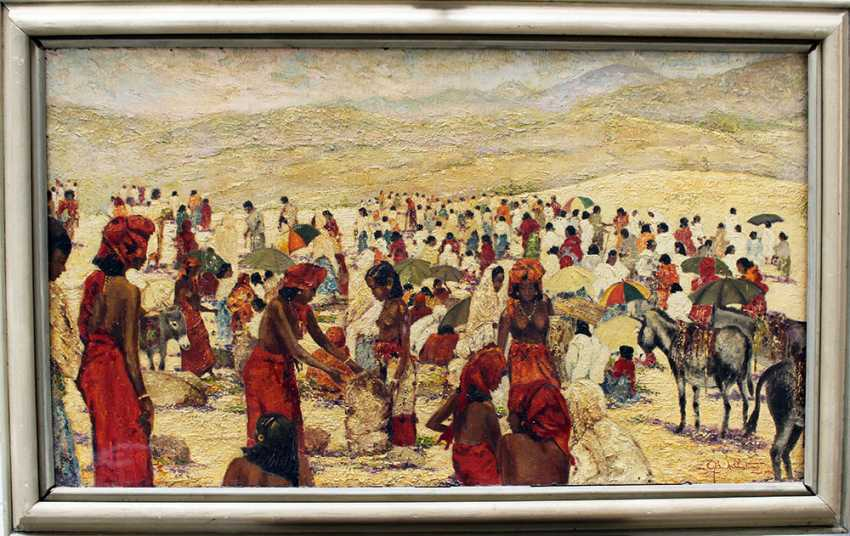 Unknown artist, large market scene, possibly Central Africa, with mountains in the background and several woman in traditional dresses trading corn - photo 1