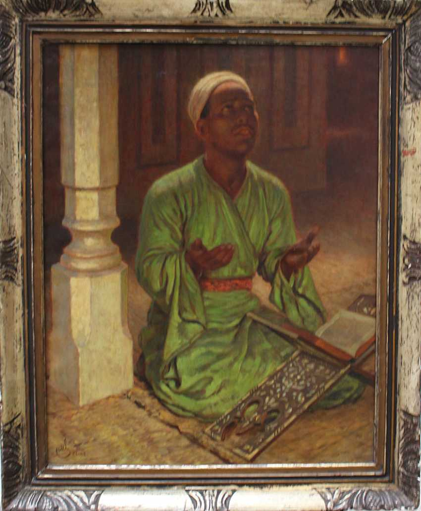 Orientalist late 19th Century, Praying man, oil on canvas, monogrammed and described Cairo bottom left, framed.  - photo 1